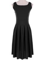 Jo.In Stylish Ladies Women Casual Solid Sleeveless Bubble Women is Fashion DressesS-XL (Black)