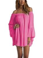 zanzea Long Sleeve Party Mini Asia Dresses (Rose Pink)