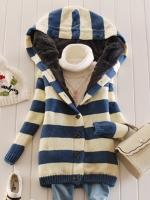 Ready4Girl เสื้อโค้ทกันหนาวไหมพรมนิ่มลายขวาง มีฮู้ด ซับขนกระต่าย(สีน้ำเงิน)