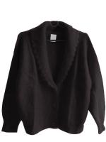 เสื้อคลุมยาวกันหนาวไหมพรมหญิง (สีดำ)
