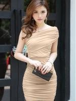 Women Casual Short Sleeve Suit Splice Mini Ladies Dresses (Black/Beige)