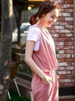 Jumpsuit เอี๊ยมกางเกงขายาว แฟชั่น คอวี แขนกุด สีชมพูกะปิ น่ารัก ผ้ายืด ใส่เที่ยว ใส่ทำงาน ชิวๆ ค่ะ