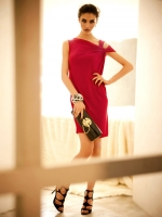 dress เดรสแขนกุด เปิดไหล่ สไตล์ยุโรป สีแดง ผ้าคอตตอน ใส่ออกงาน ใส่ไปงานแต่งงาน เซ็กซี่มากๆ ค่ะ Asia Street Fashion