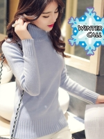 เสื้อกันหนาว เสื้อคอเต่า เสื้อสเวตเตอร์ เสื้อไหมพรม Sweater คอเต่ารุ่น Classic Winter สีเทา เนื้อหนา