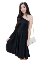 Fashion on art เดรสผ้าฮานาโก๊ะแขนยาวไหล่เดี่ยว - สีดำ
