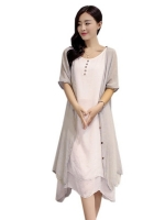 Women Beach Loose Vestidos Sleeveless Dresses For Womenes Boho Linen Long MaxiDresses Outwear Cardigan Fashion 2016 Summer Asia Dresses Online Plus Size Grey