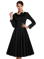 Sunwonder ACEVOG Elegant Stylish Ladies Women Long Sleeve HighWaist Calf Length Solid Casual Party Evening Dresses Online (Black)
