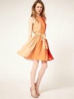 dress ชุดเดรสสไตล์ยุโรป ผ้าชีฟอง สีส้ม ใส่ทำงาน เที่ยว ใส่ออกงานได้ เท่ห์ๆ