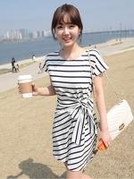 DRESS ชุดเดรสแฟชั่นเกาหลี แขนสั้น ผ้าคอตตอน ลายทาง ขาว ดำ คอกลม ใส่ทำงาน เที่ยว ASIA STREET FASHION