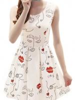 Cyber Women Sleeveless Net Yarn Vest Mini Dresses For Women (White)