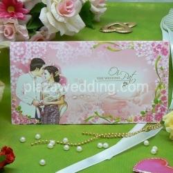 > การ์ดแต่งงานแบบพับ ขนาด 4x7.5 นิ้ว สีชมพู รหัส 91971