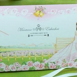 > การ์ดแต่งงานแบบพับ ขนาด 4x7.5 นิ้ว สีชมพู รหัส 92151