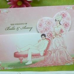 > การ์ดแต่งงานแบบพับ ขนาด 4x6 นิ้ว สีชมพู รหัส 75011