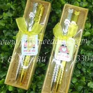 ปากกาลูกลื่น สีเงิน-สีทอง แพคกลักไม้ 1 ชิ้น มี 2 ด้าม