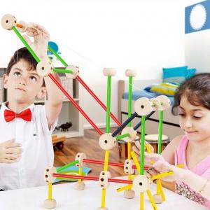 ของเล่นไม้ สร้างโครงสร้างสามมิติ โครงสร้างทางสถาปัยกรรม และวิศวกรรม Wooden Construction building