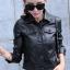 เสื้อแจ็คเก็ตหนัง เสื้อหนังแฟชั่น พร้อมส่ง สีดำ คอปก ดีเทลกระดุม สุดเท่ห์ thumbnail 1