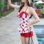 ชุดว่ายน้ำวันพีช พื้นขาว ลายหัวใจสีแดง น่ารัก สายเดี่ยว แต่งเว้าโชว์ด้านหลัง ดีเทลระบายเป็นชั้นๆค่ะ thumbnail 2