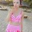 ชุดว่ายน้ำทูพีช สีชมพู ลายทางสลับสีขาว น่ารัก แต่งกระโปรงระบาย ดีเทลโบว์น่ารัก thumbnail 2