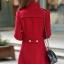 เสื้อโค้ทแฟชั่น พร้อมส่ง ตัวยาว สีแดง แต่งกระดุม 2 แถว ดีเทลคอเสื้อเก๋ๆ ใส่ไปต่างประเทศได้ thumbnail 3