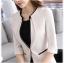 เสื้อสูทแฟชั่น เสื้อสูททำงาน เสื้อสูทสำหรับผู้หญิง พร้อมส่ง สีครีม คอวี แต่งขลิบสีดำ ผ้าโพลีเอสเตอร์ 100 % thumbnail 5