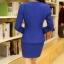 (พร้อมส่ง M,L,XL)ชุดสูททำงาน เซ็ตคู่ เสื้อสูทสีน้ำเงินแต่งขริบสีดำข้างเดียวเก๋ ดีเทลแขนพับสุดเท่ห์ คอวีลึกติดกระดุมเม็ดเดียว กระโปรงทรงเอ สีน้ำเงินมีซิบรูดด้านหลัง thumbnail 4