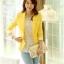 เสื้อสูทแฟชั่น พร้อมส่ง สีเหลือง สดใส คอปก แขนยาวแต่งแขนพับลายทาง ออกแบบกระเป๋าเก๋ เนื้อผ้าดี ใส่ทำงานได้ มี SIZE S,M,L,XL,XXL thumbnail 2