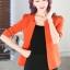 เสื้อสูทแฟชั่น เสื้อสูททำงาน เสื้อสูทสำหรับผู้หญิง พร้อมส่ง สีส้มสดใส ผ้าโพลีเอสเตอร์ 100 % เนื้อดี งานตัดเย็บเนี๊ยบ เย็บเก็บตะเข็บเรียบร้อยค่ะ เนื้อผ้ามีความยืดหยุ่นได้ค่ะ ใส่สบาย แต่งแขนพับสามส่วน thumbnail 5
