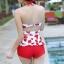 ชุดว่ายน้ำวันพีช พื้นขาว ลายหัวใจสีแดง น่ารัก สายเดี่ยว แต่งเว้าโชว์ด้านหลัง ดีเทลระบายเป็นชั้นๆค่ะ thumbnail 9