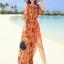 MAXI DRESS ชุดเดรสยาว พร้อมส่ง สีส้ม แขนสามส่วน โชว์ไหล่เซ็กซี่ เอวยางยืด ผ้าชีฟองลายแอ็คเซสเซอร์รี่ thumbnail 5