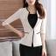 เสื้อสูทแฟชั่น เสื้อสูททำงาน เสื้อสูทสำหรับผู้หญิง พร้อมส่ง สีครีม คอวี แต่งขลิบสีดำ ผ้าโพลีเอสเตอร์ 100 % thumbnail 4