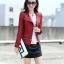 เสื้อแจ็คเก็ต เสื้อหนังแฟชั่น พร้อมส่ง สีแดง คอจีน หนังด้าน แบบเท่ห์ๆ แต่งซิบรูดช่วงปลายแขน และ ช่วงเอว สุดเท่ห์ thumbnail 5