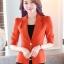 เสื้อสูทแฟชั่น เสื้อสูทสำหรับผู้หญิง พร้อมส่ง สีส้มสดใส ผ้าโพลีเอสเตอร์ คอตตอน 100 % เนื้อดี คุณภาพงานพรีเมี่ยม งานตัดเย็บเนี๊ยบ เย็บเก็บตะเข็บเรียบร้อยค่ะ ไม่มีซับในระบายอากาศได้ค่ะ thumbnail 1