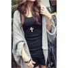 Jetting Buy Women Outerwear Cardigan Shawl Batwing Sleeve Grey