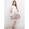 Fashionstory แฟชั่นชุดเดรสออนไลน์เดรสยาวเนื้อนิ่ม พิมพ์ลายดอกไม้ สีครีม