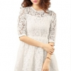 Splicing Color Chiffon Short Sleeve Mini Women - Dresses(White)
