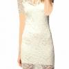 Women Lace V-neck Short Sleeve Hollow Out Elegant Dresses For Women Trendy Fashion Style Online White