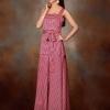 maxi dress - ชุดเดรสยาว ลายสีชมพู ดำ ใส่ออกงาน ใส่เที่ยว เชือกผูกเอว สวยๆ Asia Street Fashion