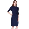 LALANG Women Half Sleeve Women is Fashion Dresses O-Neck Slim Casual Dark Blue