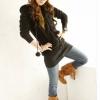 fashion เสื้อกันหนาวมีหมวก สีเทา ขนปุย อุ่นๆ แฟชั่น น่ารักๆ