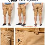 Celio Camel Cargo Shorts