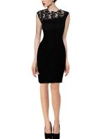 Hequ Lace Stitching Sexy Dresses (Black)