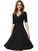EGC New Women's Sexy deep V middle-length sleeves drapeddress(Black) - INTL
