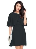 Round collar show thin chiffon loose dress - INTL