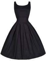 Hequ Vintage Hepburn Wind Waist Thin Fluffy Women is Fashion Dresses (Black)
