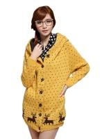 Ready4Girl เสื้อกันหนาวไหมพรม ปักลายกวาง (สีเหลือง)