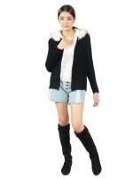 Squareladies เสื้อแจ็คเก็ตไหมพรมกันหนาวแบบหนา No.J1033 (สีดำ)