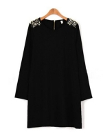 Moonar Women Pearls Shoulder Mini Women - Dresses (Black)