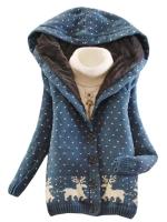 Ready4Girl เสื้อกันหนาวไหมพรม ปักลายกวาง (สีน้ำเงิน)