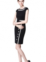 Bodycon Short Sleeve Midi Womens Dresses Online (Black)