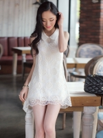 DRESS แฟชั่นชุดเดรสคุณภาพผ้าลูกไม้ แบรนด์ R.J STRORY โทนสีขาวสดใส ใส่ออกงาน ใส่เที่ยวน่ารัก Asia Street Fashion